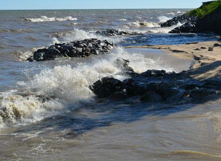 Waves pound our beach