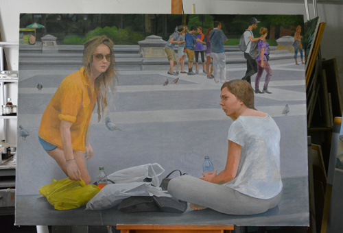 The unfinished 'Washington Square' on the easels